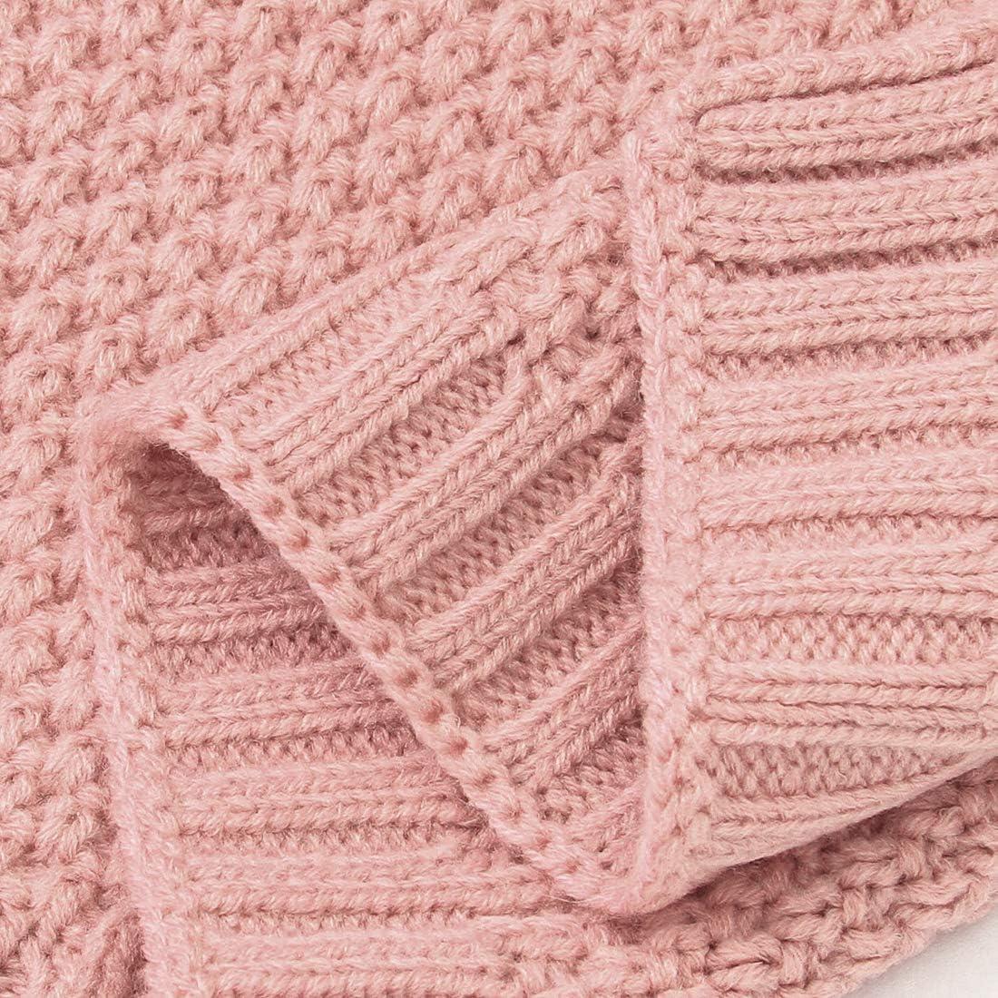 keland Couverture B/éb/é en Tricot Couvertures pour Tout-petits Swaddle Wrap pour B/éb/é Gar/çon Filles Nouveau N/ée Rose