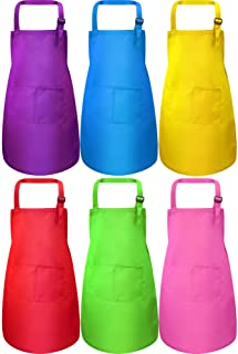 Syhood 6 Pieces Kids Apron with Pocket Adjustable Children Chef Apron for Baking Painting Cooking (Color 1, Large)