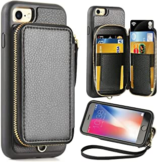 ZVE Case for Apple iPhone 8 and iPhone 7, 4.7 inch, Leather Wallet Case with Credit Card Holder Slot Zipper Wallet Pocket Purse Handbag Wrist Strap Protective Cover for Apple iPhone 8/7 - Black