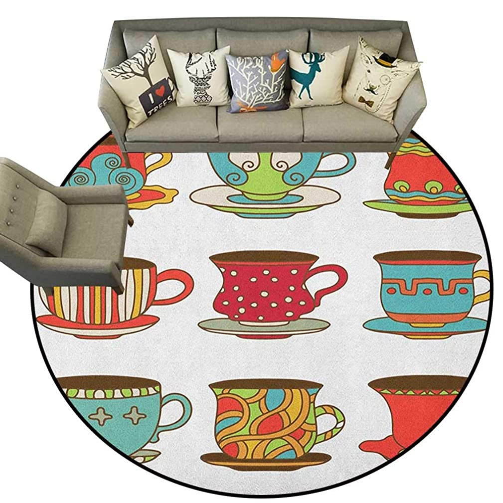 Tea Party,Rubber mat Colorful Vivid Teacup Design Cartoon Drawing Style Breakfast Brunch Illustration D60 Bathroom Floor mats