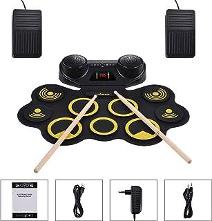 Asmuse Set de Batería Eléctrica Drum Kit Portátil Altavoz Dual Incorporado 9 Almohadillas de Batería con Grabación MIDI/Bluetooth Conector para Auriculares Pedales y Tubo Digital