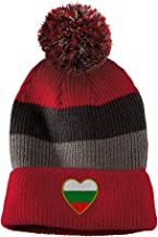Heart Bulgaria Flag Embroidered Unisex Adult Acrylic Vintage Striped Removable Pom Pom Beanie Winter Hat - Red/Black/Grey Stripes, One Size