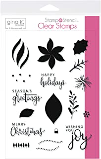Gina K. Designs for Therm O Web StampnStencil, Wishing You Joy, Clear Stamp Set