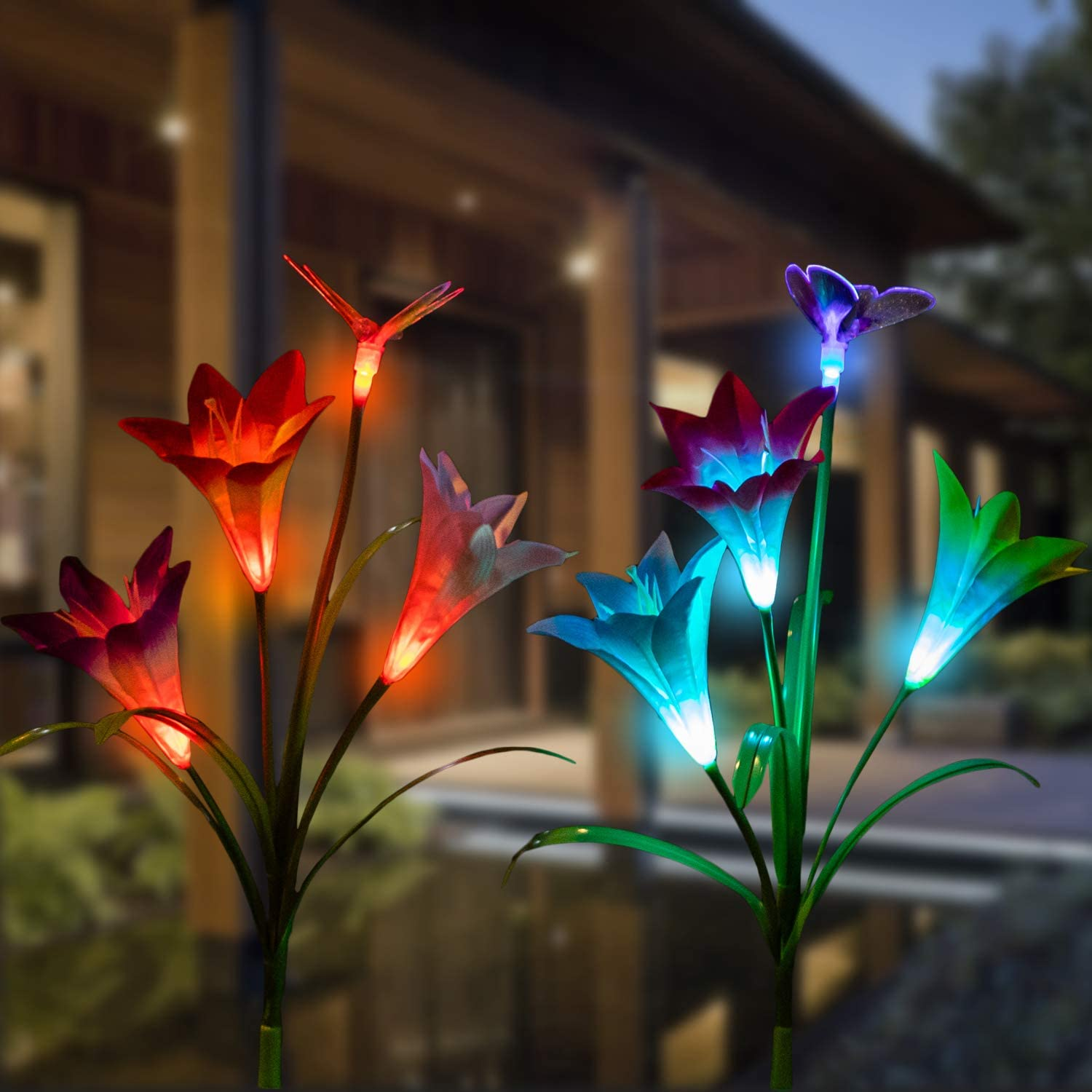 Be Limited time sale super welcome CGN 2pcs Outdoor Solar Garden Multi Lights Powered Stake -