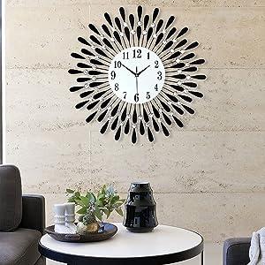 JIMBON 23.6 inch Large Wall Clock for Living Room Decor Modern, Metal 3D Non-Ticking Quiet Quartz Clocks for Living Room Kitchen Home Decoration
