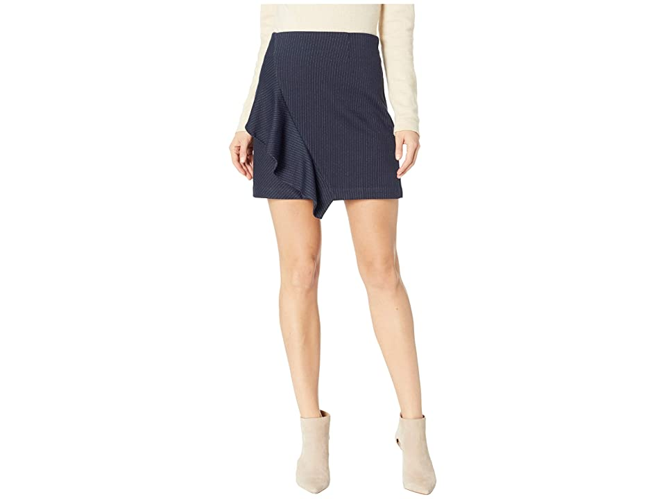 1.STATE Ruffle Front Pin Stripe Mini Skirt (Blue Night) Women