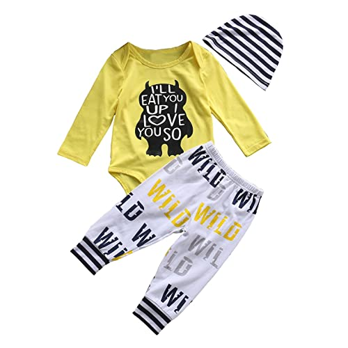 Tomfree Newborn Baby Boys Girls Move Mountains Funny Bodysuits Pants Hat 3pcs Set Outfits