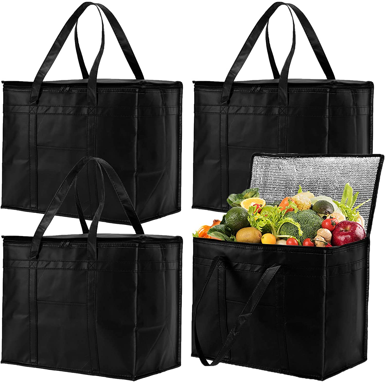 Bekith 4 Pack XL Insulated Reusable Grocery Bags with Zippered Top, Insulated Shopping Bag for Groceries or Food Delivery, Foldable, Washable, Heavy Duty, Stands Upright, Reinforced Bottom, Black