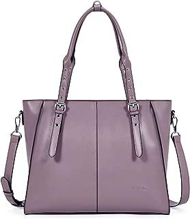 BOSTANTEN Women Leather Briefcase 15.6 inch Laptop Tote Bag Top-Handle Shoulder Handbag Cross-Body Work Tote Purses Purple