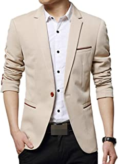 comprar comparacion LEOCLOTHO Blazer Casual para Hombre Slim fit Chaquetas de Traje de Un Solo Pecho para Negocios Boda Ocio