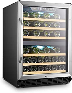 Lanbo 44 Bottle Built-in Dual Zone Compressor Wine Cooler, 24 Inch Wide