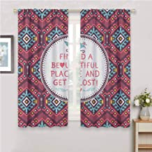 GUUVOR Native American Premium Blackout Curtains Hipster Tribal Pattern Geometric Elements Typographic Text Kindergarten Noise Reduction Curtains W54 x L63 Inch Dark Coral Turquoise Yellow