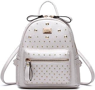 Santwo Women's Mini Rivets Waterproof PU Leather Backpack Casual Daypack Shoulder Bag (white)