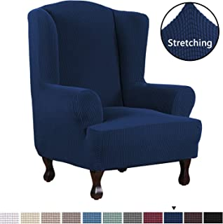 H.VERSAILTEX 1 Piece Super Stretch Stylish Furniture Cover/Wingback Chair Cover Slipcover Spandex Jacquard Checked Pattern, Super Soft Slipcover Machine Washable/Skid Resistance (Wing Chair, Navy)