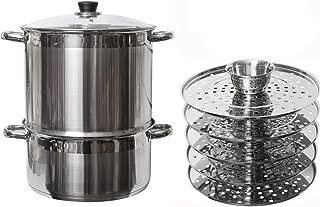 5 Tier/Level 20 qt Uzbek 18/10 Stainless Steel Steamer Cooker Warmer w/Tempered Glass Cover for Dumplings, Ravioli, Vegetables, Fish, Manti, Mantovarka