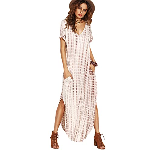 d126e2dd3c91 MAKEMECHIC Casual Maxi Short Sleeve Split Tie Dye Long Dress