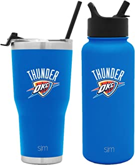 Simple Modern NBA Team Licensed Water Bottles Tumblers and Coffee Mugs Brother Kids Women Husband Gifts for Men Vacuum Insulated Stainless Steel Travel Leak Proof Straw Lid Dad