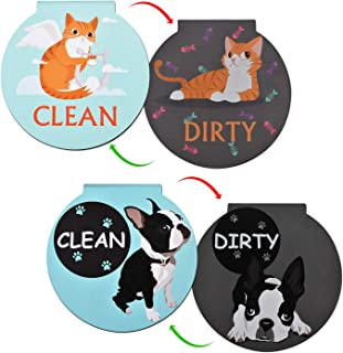 Nidoul Clean Dirty Dishwasher Magnet Sign, Double Sided Flip Indicator, Cartoon Animal Dishwasher Accessories Kitchen Label for Home Organization (Cat&Dog, 1)