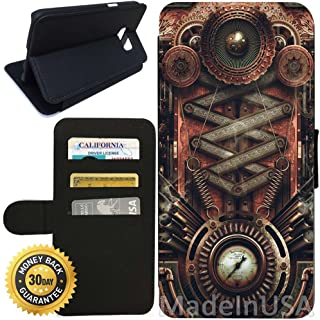 Flip Wallet Case for Galaxy S7 (Steampunk Motherboard) with Adjustable Stand and 3 Card Holders | Shock Protection | Lightweight | Includes Stylus Pen by Innosub