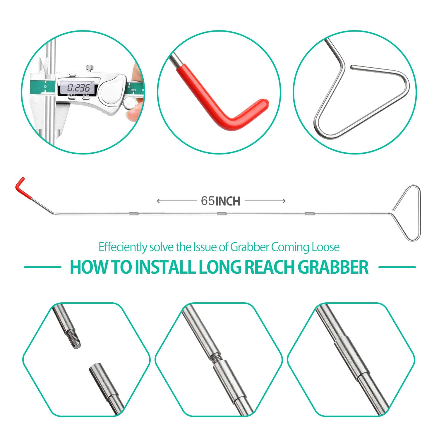 10PCS Automotive Long Reach Grabber Automotive Kit Long Reach Grabber Car Essential Kit Long Reach Tool with Air Pump Bag Non Marring Wedges for Cars /& Trucks