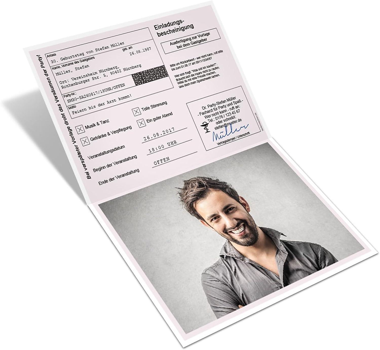 Geburtstag Einladungskarten (40 Stück) Krankschreibung Krankmeldung Klappkarte mit Foto B01MZG3LND  | Bequeme Berührung