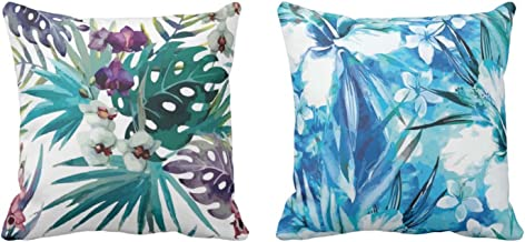 YaYa cafe Canvas Cotton Floral Flowers Printed Cushion Covers (Blue, 24 x 24 inches) - Set of 2