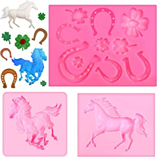 3 Pieces Horse Themed Silicone Molds Horse Shoe Clover Fondant Mold Cake Decor for Cake Candy Chocolate Decorating Tray DI...