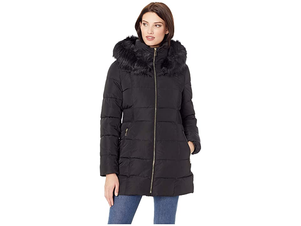 Ivanka Trump Puffer Jacket with Detachable Fur Hood and Waist Detail (Black) Women