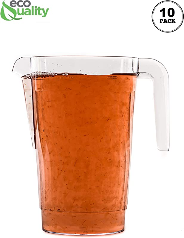 10 PACK 50 Oz Crystal Clear Plastic Beverage Pitcher Break Resistant Beverage Carafe Great For Restaurants And Catering Serveware For Water Cold Drinks Beer Lemonade Sangria 50oz