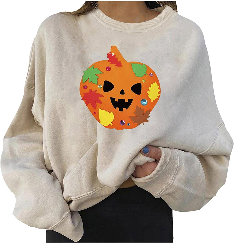 Obersheen Max 64% OFF Halloween Sweatshirts for Women Cheap sale Pullover Print Pumpkin