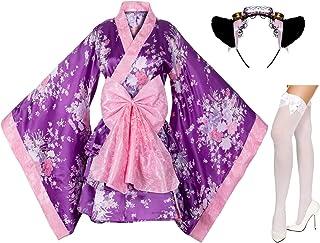 Japanese Anime Lolita Cherry Sakura Flower Printing Kimono Costumes Fancy Dress Maid cat Headband Socks Set(DHF003) Purple