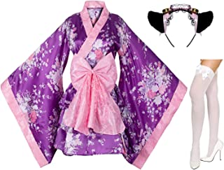 Japanese Anime Lolita Cherry Sakura Flower Printing Kimono Costumes Fancy Dress Maid cat Headband Socks Set(DHF003) Purple