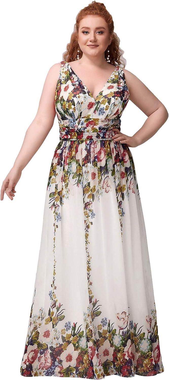 Alisapan Womens V-Neck Chiffon Bridesmaid Dress Plus Size Long Evening Party Dresses 90161