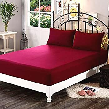 "Sleep Matic Waterproof 75""x 72"" (6.25 x 6) feet Cotton Fitted King Size Mattress Protector Bed Cover with Elastic Strap (Maroon)"