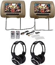 "Pair Rockville RHP91-BG v2 9"" Beige Car Headrest Monitors w/Speakers+Headphones"