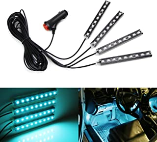 iJDMTOY 4pc 5-Inch 36-SMD LED Ambient Styling Lighting Kit For Car Interior Decoration, Powered From Car Cigarette Lighter, Ice Blue