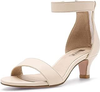 IDIFU Women's IN2 Slim Fashion Stilettos Ankle Strap Open Toe Pump Heeled Sandals Kitten Heel Party Shoes with Zipper