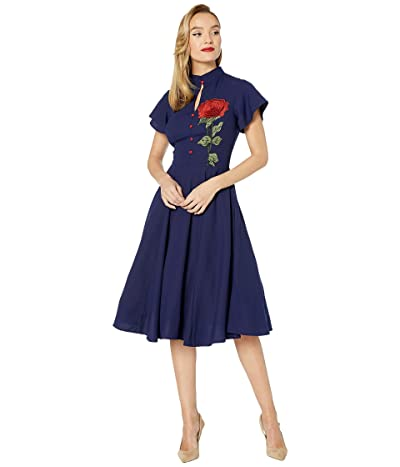 Unique Vintage Embroidered Rose Baltimore Swing Dress (Navy) Women