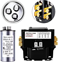 Single Pole 30 Amp 24 Volt Condenser Contactor HN51KC024 with Dual Run Round Capacitor 45+5 uF MFD 370 or 440 VAC Replace 97F9895, Z97F995, 97F9895BZ3 and 27L880 for Air Conditioner