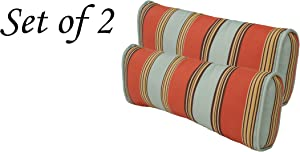 Comfort Classics Inc. Outdoor Multi Color Stripe Pillow (Set of 2) 19x10x 4