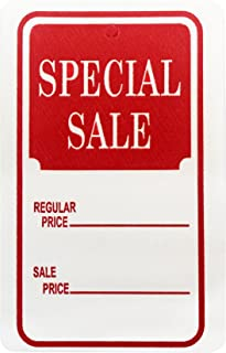 Amram 1.25 Inch x 1.875 Inch Unstrung Coupon Tags Non Perforated Printed Special Sale 1000 Tags Red and White