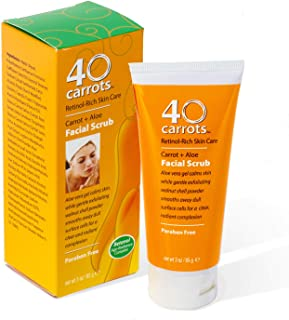 40 Carrots Carrot Aloe Facial Scrub - Improve Skin Tone, Texture, and Clarity, for Softer, Brighter Skin