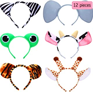 12 Pieces Animal Headbands Plush Cartoon Headbands Assorted Zoo Jungle Headbands Hair Accessories Giraffe Zebra Tiger Frog Cow Elephant Hair Hoops