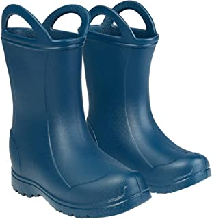 Kids Rain Boots, Toddler Boots, Waterproof Easy-on Handle Rainboots Rubber Slip on Shoes for Boys Girls