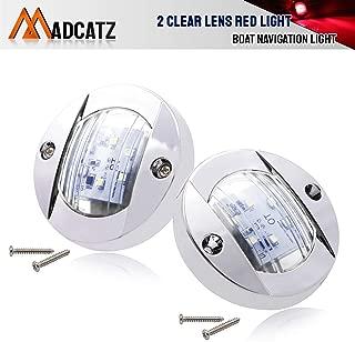 MadCatz (Pack of 2) 3 Inch Round Clear Lens Red 6 LED Navigation Port Side Light with Chrome Bezel Interior Lamp for Trailer RV Kayak Camper Boat Truck Yacht Cabin 12V DC Waterproof Transom Mount OT12