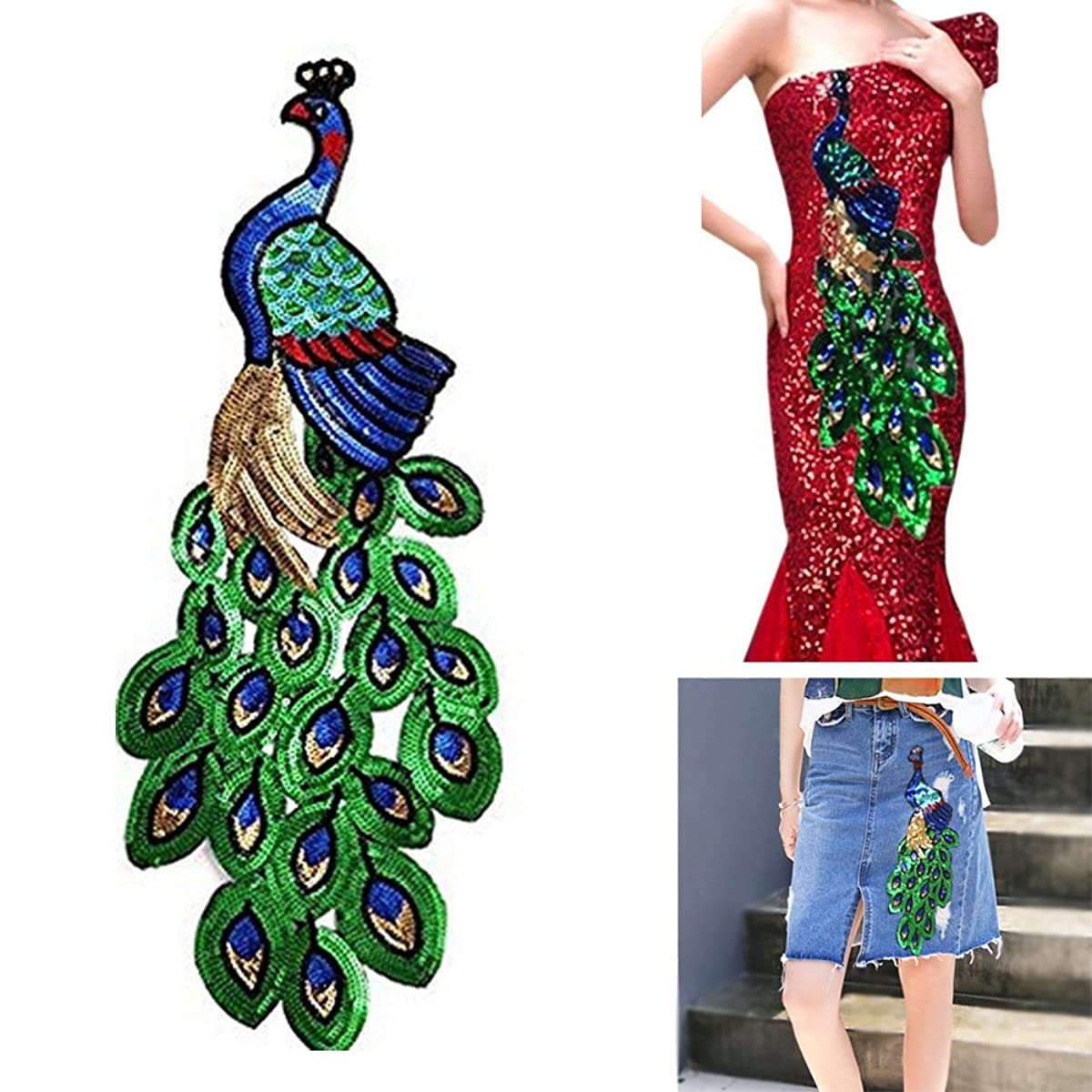 Lesirit Sequins Peacock DIY Applique Embroidered Sew Patch for Clothes Pack of 2 (Large)