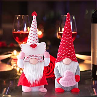 Valentines Day Couple Gnomes Plush Elf Decorations of 2PCS, Handmade Scandinavian Tomte Nisse for Valentine`s Day Table Or...