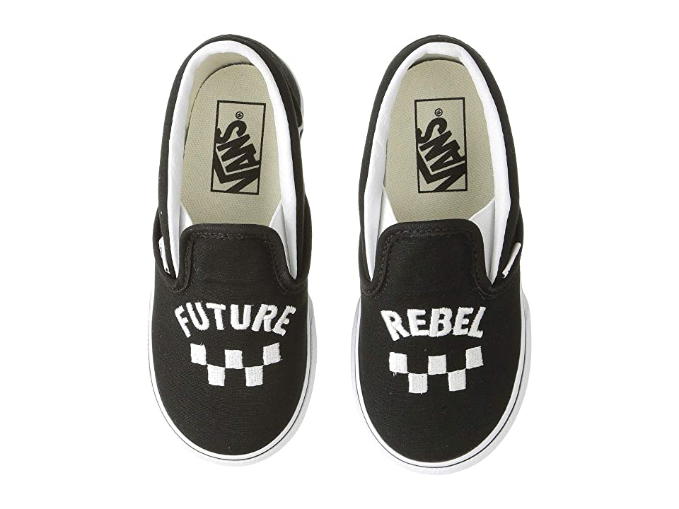 Vans Kids Classic Slip-On (Infant/Toddler) ((Future Rebel) Black/True White) Boys Shoes