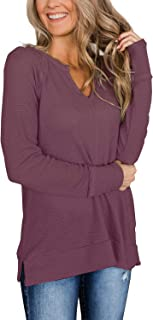 Herilios Women's Long Sleeve Waffle Knit Tunic Tops Casual V Neck Shirts Loose Fit Pullovers