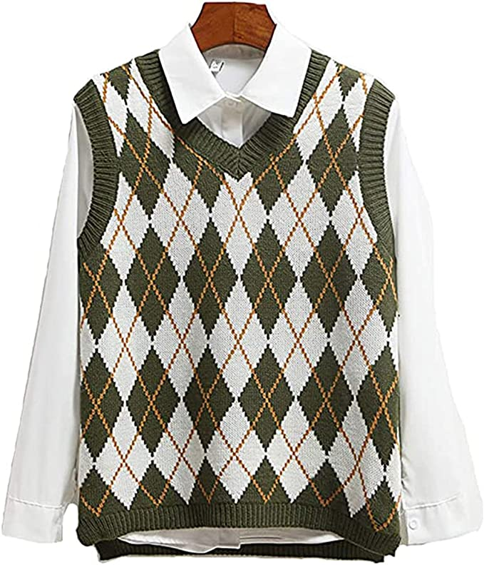 1980s Clothing, Fashion | 80s Style Clothes SLLSKY Argyle Fashion Knitted Vest Women Casual Korean Pullover Elasticity Sweater Spring Autumn Sleeveless V-Neck Tank Tops  AT vintagedancer.com